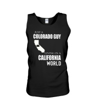 JUST A COLORADO GUY IN A CALIFORNIA WORLD Unisex Tank thumbnail