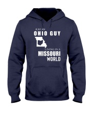 JUST AN OHIO GUY IN A MISSOURI WORLD Hooded Sweatshirt front