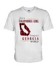 JUST A CALIFORNIA GIRL IN A GEORGIA WORLD V-Neck T-Shirt thumbnail
