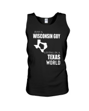 JUST A WISCONSIN GUY IN A TEXAS WORLD Unisex Tank thumbnail