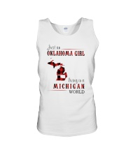 JUST AN OKLAHOMA GIRL IN A MICHIGAN WORLD Unisex Tank thumbnail