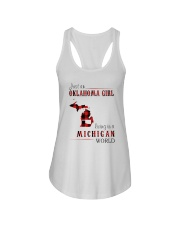 JUST AN OKLAHOMA GIRL IN A MICHIGAN WORLD Ladies Flowy Tank thumbnail