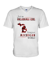 JUST AN OKLAHOMA GIRL IN A MICHIGAN WORLD V-Neck T-Shirt thumbnail