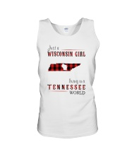 JUST A WISCONSIN GIRL IN A TENNESSEE WORLD Unisex Tank thumbnail