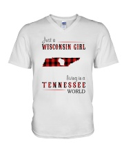 JUST A WISCONSIN GIRL IN A TENNESSEE WORLD V-Neck T-Shirt thumbnail