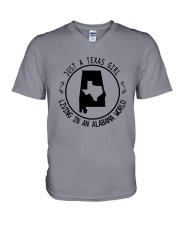 TEXAS GIRL LIVING IN ALABAMA WORLD V-Neck T-Shirt thumbnail