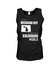 JUST A MICHIGAN GUY IN A COLORADO WORLD Unisex Tank thumbnail