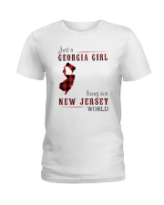 JUST A GEORGIA GIRL IN A NEW JERSEY WORLD Ladies T-Shirt thumbnail