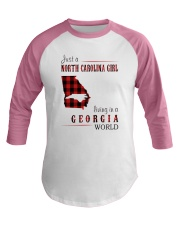 JUST A NORTH CAROLINA GIRL IN A GEORGIA WORLD Baseball Tee tile