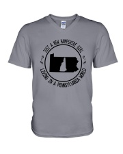 NEW HAMPSHIRE GIRL LIVING IN PENNSYLVANIA WORLD V-Neck T-Shirt thumbnail