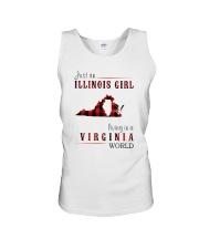 JUST AN ILLINOIS GIRL IN A VIRGINIA WORLD Unisex Tank thumbnail
