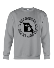 MICHIGAN GIRL LIVING IN MISSOURI WORLD Crewneck Sweatshirt thumbnail