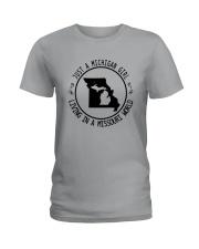 MICHIGAN GIRL LIVING IN MISSOURI WORLD Ladies T-Shirt thumbnail