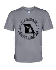 MICHIGAN GIRL LIVING IN MISSOURI WORLD V-Neck T-Shirt thumbnail