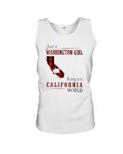 JUST A WASHINGTON GIRL IN A CALIFORNIA WORLD Unisex Tank thumbnail