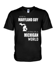 JUST A MARYLAND GUY IN A MICHIGAN WORLD V-Neck T-Shirt thumbnail