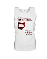 JUST A PENNSYLVANIA GIRL IN AN OHIO WORLD Unisex Tank tile