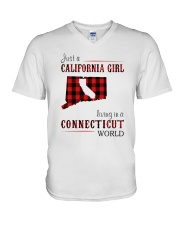 JUST A CALIFORNIA GIRL IN A CONNECTICUT WORLD V-Neck T-Shirt thumbnail