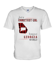 JUST A CONNECTICUT GIRL IN A GEORGIA WORLD V-Neck T-Shirt thumbnail