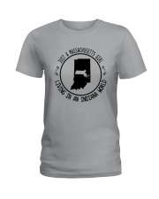 MASSACHUSETTS GIRL LIVING IN INDIANA WORLD Ladies T-Shirt thumbnail