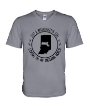 MASSACHUSETTS GIRL LIVING IN INDIANA WORLD V-Neck T-Shirt thumbnail