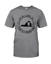 ILLINOIS GIRL LIVING IN VIRGINIA WORLD Classic T-Shirt thumbnail
