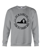 ILLINOIS GIRL LIVING IN VIRGINIA WORLD Crewneck Sweatshirt thumbnail