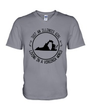 ILLINOIS GIRL LIVING IN VIRGINIA WORLD V-Neck T-Shirt thumbnail