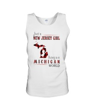 JUST A NEW JERSEY GIRL IN A MICHIGAN WORLD Unisex Tank thumbnail