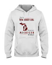JUST A NEW JERSEY GIRL IN A MICHIGAN WORLD Hooded Sweatshirt front