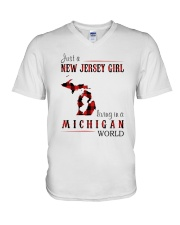 JUST A NEW JERSEY GIRL IN A MICHIGAN WORLD V-Neck T-Shirt thumbnail