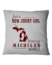 JUST A NEW JERSEY GIRL IN A MICHIGAN WORLD Square Pillowcase thumbnail