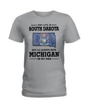 LIVE IN SOUTH DAKOTA BUT MICHIGAN IN MY DNA Ladies T-Shirt thumbnail