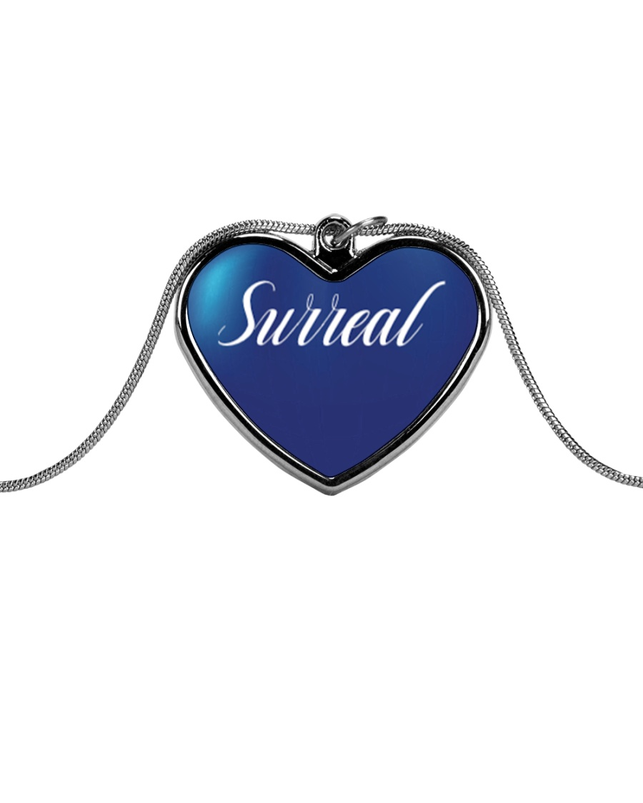 Surreal Blue Heart Necklace Metallic Heart Necklace