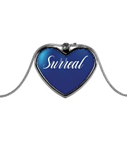 Surreal Blue Heart Necklace Metallic Heart Necklace front