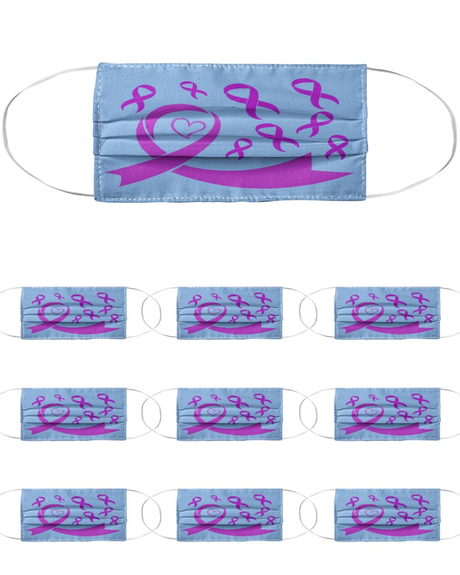 Epilepsy Awareness Ribbon Cloth Face Mask - 10 Pack