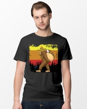 Bigfoot Carrying Taco - Bigfoot Retro Vintage Classic T-Shirt lifestyle-mens-crewneck-front-15