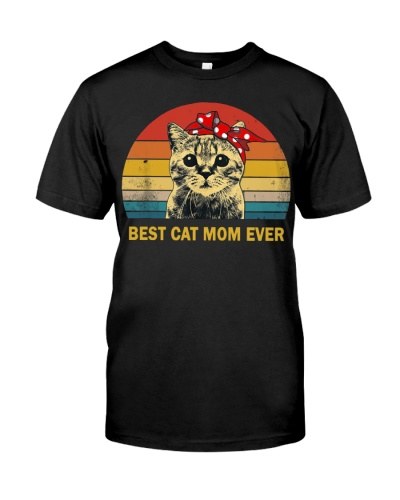 Vintage Best Cat Mom Ever T-Shirt Mother's Day
