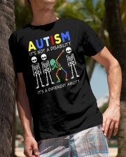 Autism Its NOT A DISABILITY Dabbing Skeleton 2 Classic T-Shirt lifestyle-mens-crewneck-front-10