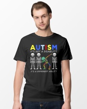 Autism Its NOT A DISABILITY Dabbing Skeleton 2 Classic T-Shirt lifestyle-mens-crewneck-front-15