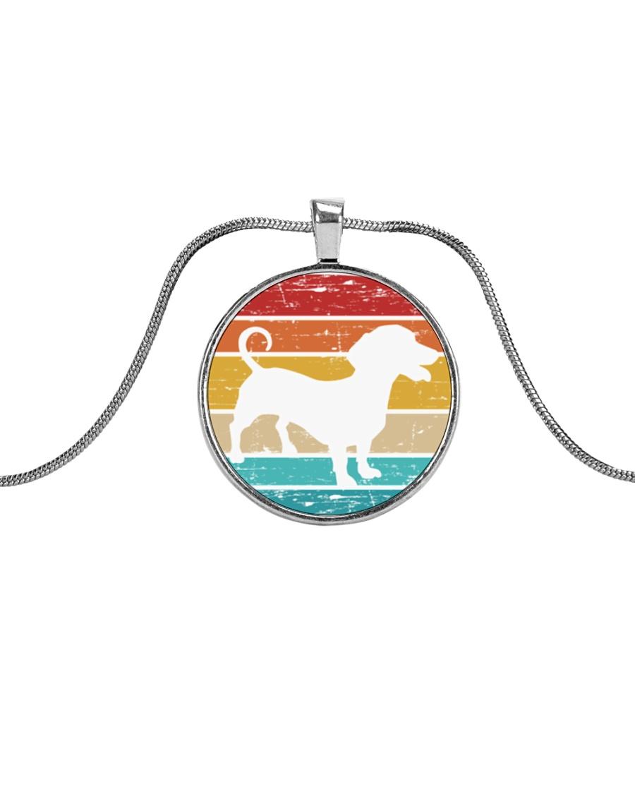 Dachshund Love Metallic Circle Necklace