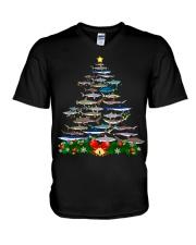 Shark Tree Christmas T-Shirt V-Neck T-Shirt thumbnail