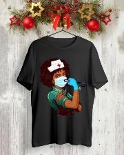Black Nurse Strong Women shirt Classic T-Shirt lifestyle-holiday-crewneck-front-2