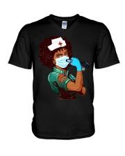 Black Nurse Strong Women shirt V-Neck T-Shirt thumbnail