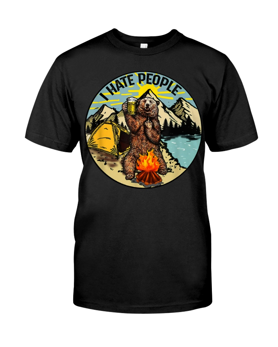 I Hate People Bear Drinking Beer T-Shirt Classic T-Shirt