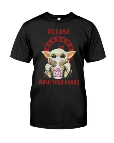 Alabama Crimson  wash your hands baby yoda shirt