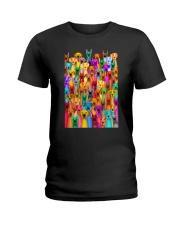 Great Dane Multi-dog Colorful Art Ladies T-Shirt thumbnail