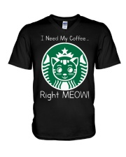 I Need My Coffee - Cat Starbucks V-Neck T-Shirt thumbnail