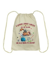 A WOMEN CANNOT SURVIVE ON CAT ALONE-CROCHET Drawstring Bag thumbnail