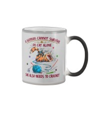 A WOMEN CANNOT SURVIVE ON CAT ALONE-CROCHET Color Changing Mug thumbnail